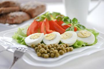 Boiled eggs on the leaves of lettuce