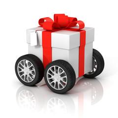 gift box on wheels