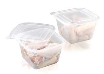 Plastic food storage box whit chiken isolated on white