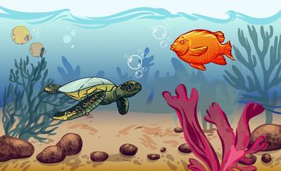 underwater world with marine animals. fish, shell, jellyfish