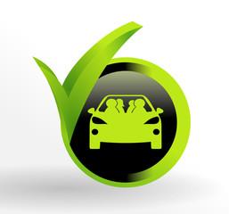 covoiturage sur bouton vert et noir