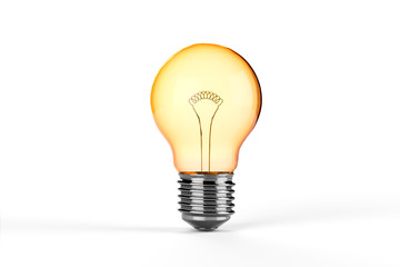 Yellow Incandescent Light Bulb - isolated