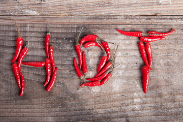 Hot writing with red hot chili pepper.
