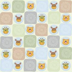 childish seamless pattern with animal toys