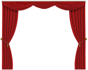Red Curtains Isolated on White Background