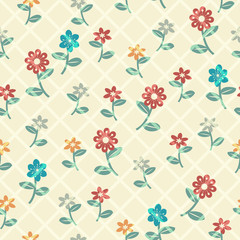Multicolored floral pattern with grid overlay