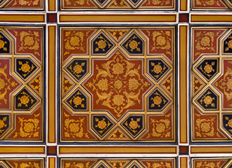 Golden and Red Islamic Persian Motif on the Ceiling