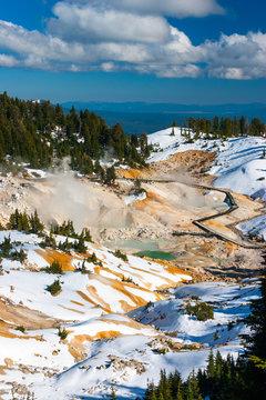 Bumpass Hell volcanic area in Lassen Volcanic Park, California.