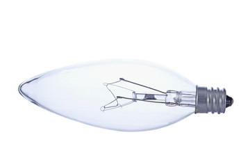 Side view of clear tungsten light bulb.
