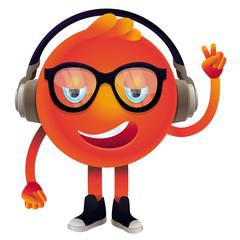 Poster de jardin Creatures Vector funny monster with headphones and glasses