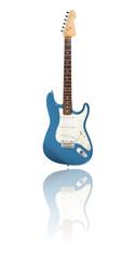 E-Gitarre mit Spiegelung, blau-metallic