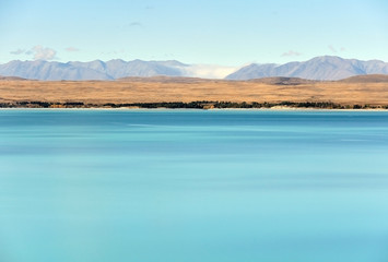 Mt Cook view from the beautiful blue lake Pukaki, New Zealand, S