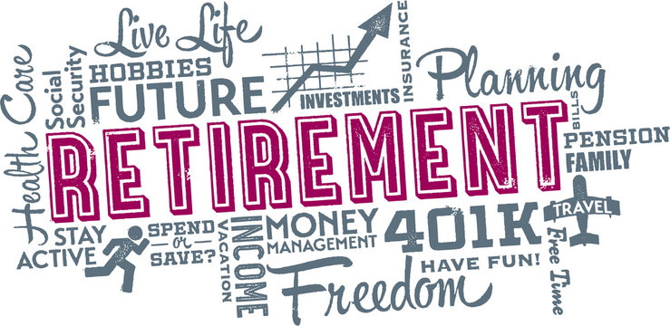 Retirement Planning Words and Icon Cloud