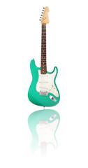 E-Gitarre mit Spiegelung, mintgrün