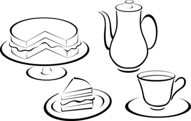 cup, teapot and cakes silhouette