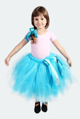 Little Girl Performing in Tutu Skirt