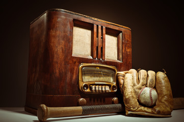 Antique Radio With Baseball Mit And Glove