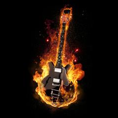 Wall Murals Flame E Gitarre unter Feuer