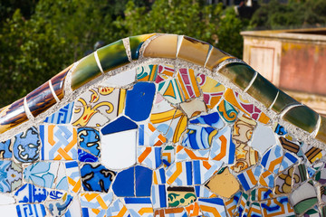 Detail closeup of mosaic in Park Guell, Barcelona