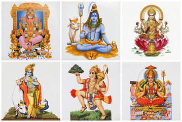 poster with hindu gods  on ceramic tiles