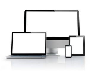computer, laptop, tablet and smartphone on white