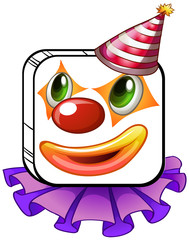 A square-faced clown with a party hat