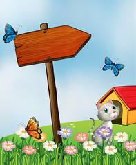 Autocollant pour porte Papillons A garden with butterflies and a cat near an arrowboard