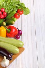 Set of vegetables on a light  background background