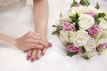 wedding hands and flowers