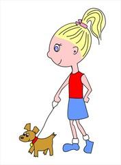 chica y perro paseando