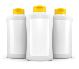 Three bottles of cosmetic stuff isolated on white