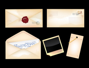 Set of vintage envelopes and photo