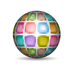 Sphere with media icons