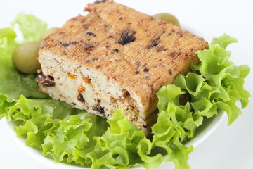 Tofu cheese with olives