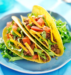 Mexican food - hard shell beef tacos