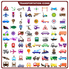 vector illustration of complete set of transportation icon