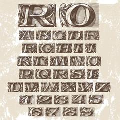 Vector Set. Vintage Fonts