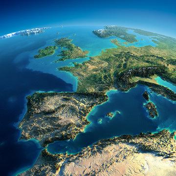 Detailed Earth. Spain and the Mediterranean Sea