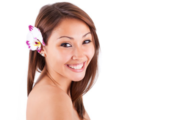Headshot portrait of a young beautiful asian woman - Asian peopl