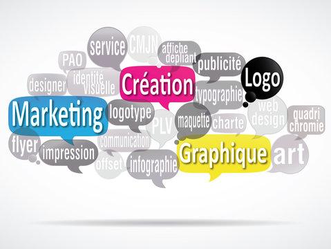 nuage de mots bulles : création graphique logo