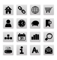 Black web site and internet icons on gray squares