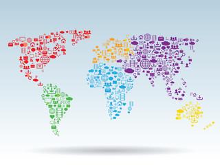 Poster Carte du monde World map social media