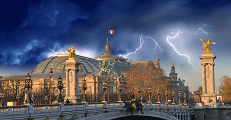 The Great Palace - Le Grand Palais in Paris with Storm Fototapete