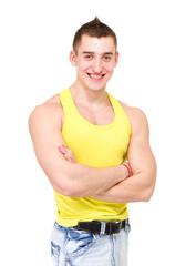 smiling muscular caucasian athlete