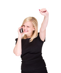 business woman on the phone winning over white