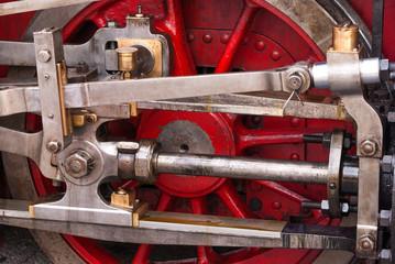 Old choo-choo train wheels detail