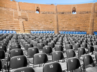 Modern seats in ancient amphitheater
