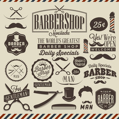 Fototapeten Weinlese-Plakat Collection of vintage grunge barber shop labels