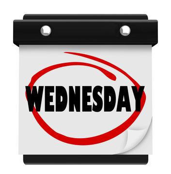 Wednesday Hump Day Wall Calencar Word Circled