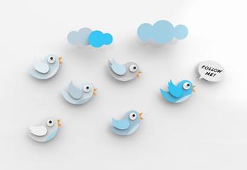 Cute twitter birds following each other.